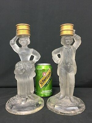 Magnificent Pair of Possibly Baccarat France Glass Statue Candlesticks