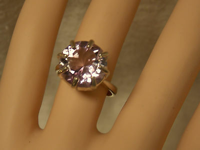 NATURAL mined 7ct purple amethyst 925 sterling silver ring size 8 USA made