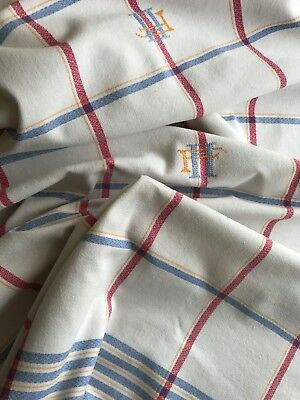 "Vintage French Set 12 Napkins & Tablecloth - Red & Blue Stripes ""hf"" Monogram"
