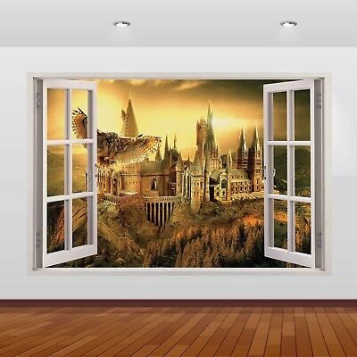 Harry Potter Hogwarts Castle Alley 3D Window Wall Sticker Poster Decal Mural 820