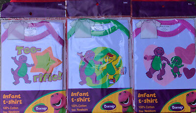 LOT OF 3 - Official Barney and Friends Infant T Shirt SIZE NEWBORN UP TO 8lbs