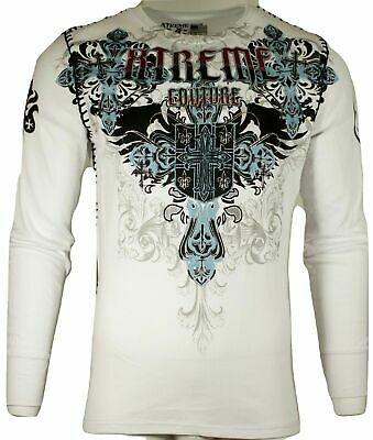 Xtreme Couture by AFFLICTION Men THERMAL T-Shirt CLASSIC CREST Biker MMA Gym $58