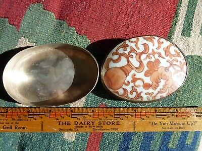 Vintage Metal Box with Very Old Chinese Hand Painted Pottery Shard Top