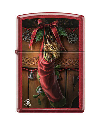 """Zippo """"Anne Stokes-Dragon in Stocking"""" Candy Apple Red Finish Lighter,  2424"""