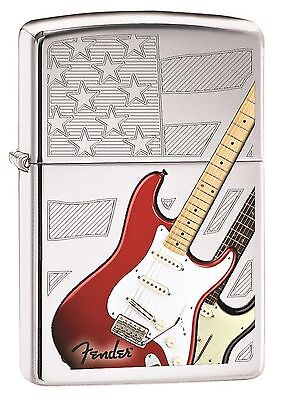 "Zippo ""Fender Guitar-USA Flag"" High Polish Chrome Full Size Lighter, 4646"
