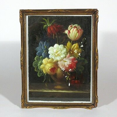 Antique FrenchHand Carved Gilded Wood Frame, Textured Print on Canvas, Flowers
