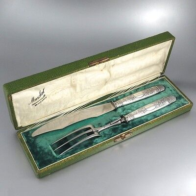 Antique French Sterling Silver Carving Set, Fork and Knife, Hallmark, Paris