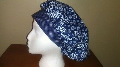 Blue and White Floral Women's Bouffant Surgical Scrub Hat/Cap Handmade
