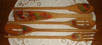 Strawberry 5 Wood Utensils Spoons Fork Paddle Kitchen Hp Signed Initials
