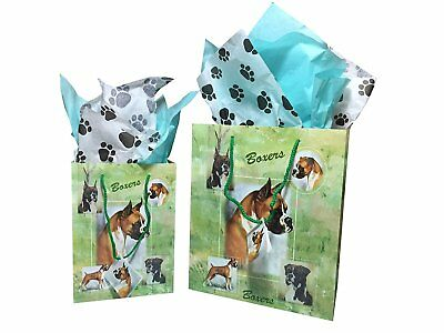 New Boxer Breed Dog Gift Bags Set of Two with Tissue Paper Boxers Ruth Maystead