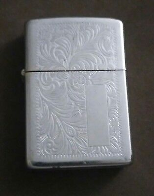 Old Vintage fancy ornate Flower & Leaf Design Engraved Zippo Lighter