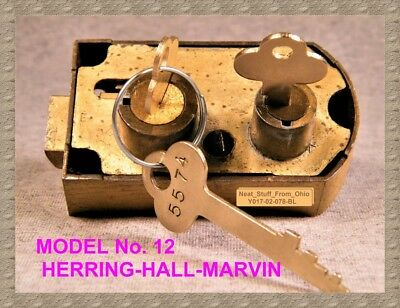 HERRING-HALL-MARVIN No. 12 SAFETY DEPOSIT BOX LOCK & KEYS, HIGHLY COLLECTABLE