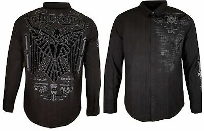 Xtreme Couture AFFLICTION Mens BUTTON DOWN Shirt WHITE CROSS WING UFC Roar $78