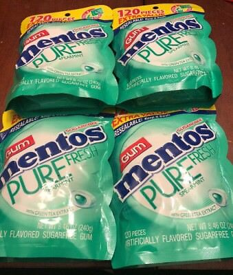 Lot Of 4 Mentos Pure Fresh Sugar-Free Chewing Gum w/Xylitol 120 Piece 480 Total