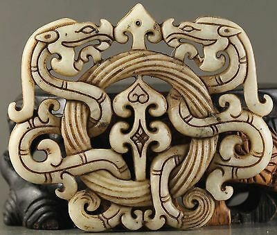 How Old Chinese natural jade hand-carved statue of double dragon pendant