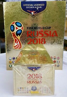 Panini 2018 World Cup GOLD Edition Set = Album + Box 100 Packets (500 Stickers)