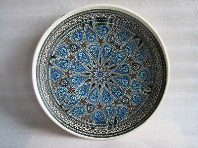 Beautiful Old Vintage Iznik Turkish Ottoman Faience Pottery Hand Painted Platter
