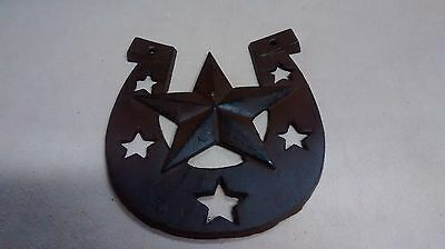 Cast Iron Lucky Star Horseshoe Plaque