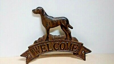 Cast Iron WELCOME  DOG PLAQUE sign Rustic Ranch Wall  Decor