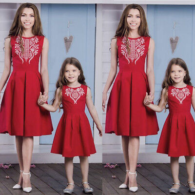 Fashion Womens Mother Daughter Matching Dresses Summer Girl Dress Clothes Outfit