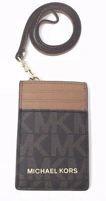 2dde1a45a4f9 NWT Michael Kors Jet Set Travel LANYARD ID Card Case ID Badge Signature  Brown