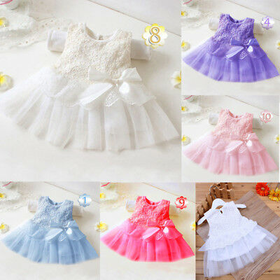 Newborn Baby Kid Girl Christening Princess Tutu Dress Wedding Party Pageant Gown