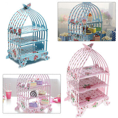 Birdcage Cupcake Cardboard Cake Stand 3 Tier Vintage Wedding Tea Party Display