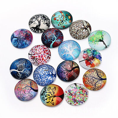 20x Round Glass Mixed Colorful Tree Cameo Cabochon Flat Back 10/12/14/18/20/25mm