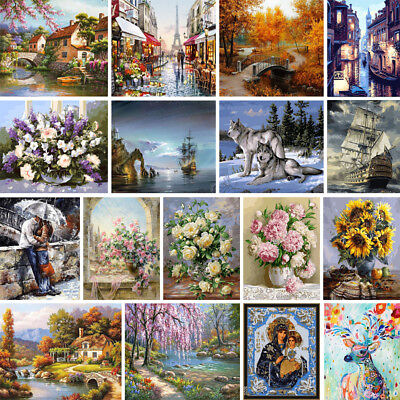 Flower Canvas DIY Digital Oil Painting Kit Paint By Number Wall Decor No Frame