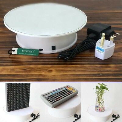 New Round Electric Motorized Rotating Turntable Jewellery Display Stand - White