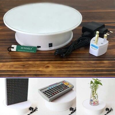 UK 360 Degree Electric Rotating Turntable Display Stand for Photography Max 20cm