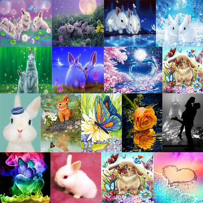 Cute Rabbit 5D Diamond Painting DIY Embroidery Cross Stitch Kit Mosaic Art Decor