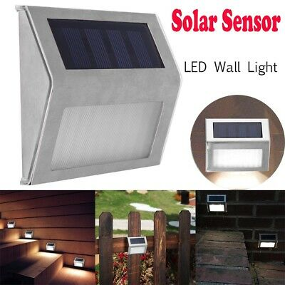 LED Solar Power Sensor Wall Light Outdoor Corridor Garden Waterproof Lamp Steel