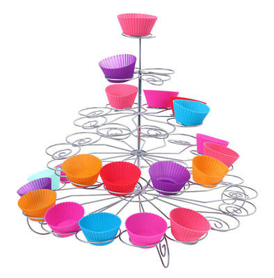 5 Tier Holds 41 Cupcake Stand Round Spiral Metal Cake Holder Party Table Decor