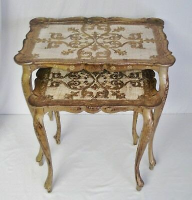 2 Vintage BUSA Italy Florentine Nesting Tables Hollywood Regency Side End Table