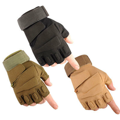 Mens Tactical Military Fingerless Combat Airsoft Hunting Work Half Finger Gloves
