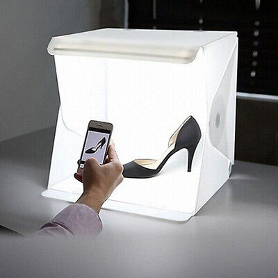 "9"" Foldable Lightbox Studio LED Photo Shoot Box for Smartphone DSLR Portable AU"
