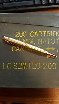Bullet Pen made from two 308's Copper tip and clip.
