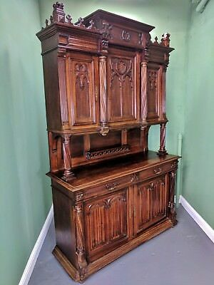 An Antique French Renaissance Revival Mahogany Dresser Sideboard  ~Delivery Avai