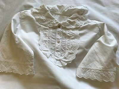 Antique French Cotton Nightdress - Shirt - Short Sleeves & Jabot