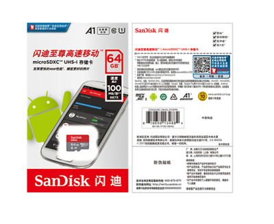 64GB MicroSD SDHC SDXC UHS-I Ultra A1 Class 10 100MB/s TF Memory Card Sandisk