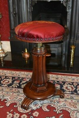 William IV Regency Mahogany Acanthus Piano Stool Adjustable C1830 Restored