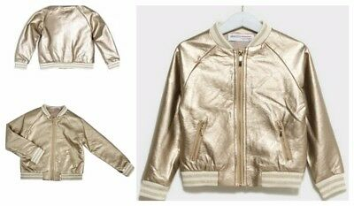 New Girls 3-4 years MINOTI Gold Foil Bomber Jacket Gorgeous Coat Lovely Gift