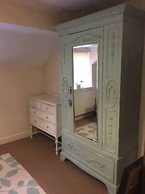 Vintage Antique large french mirrored shabby chic wardrobe