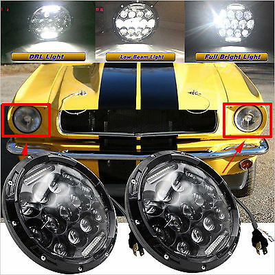 "2x 7"" INCH LED Headlight H4 H13 Hi/Lo Beam 150W Total For Ford Mustang 1965-1973"