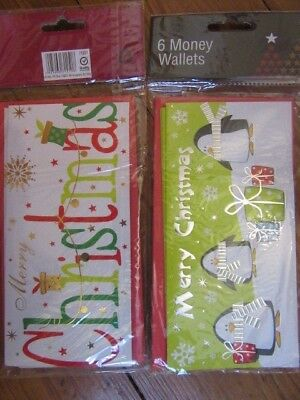 Christmas Card Money Wallet Gift With Envelope pack of 6