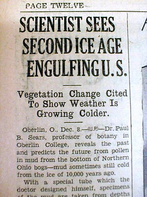 1938 newspaper SCIENTIST PREDICTS NEW ICE AGE for EARTH No Global Warming here !