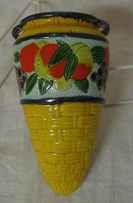 Vintage Porcelain Wall Pocket Basket Decorated with Fruit, Made in Japan, 7 1/2""
