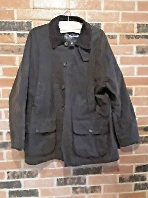 Vintage Barbour Beauchamp Brown Distressed Waxed Cotton Jacket  Size XL