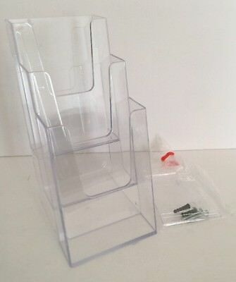 Clear Acrylic Three Tier Brochure Literature Holder Tabletop or Mountable New NI